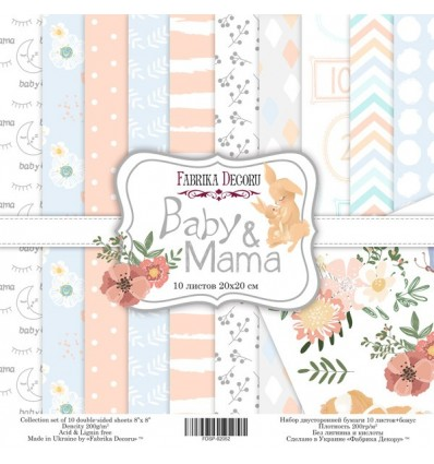 Papel doble cara Scrapbooking set Baby&Mama- 8x 8 - Fabrika Decoru