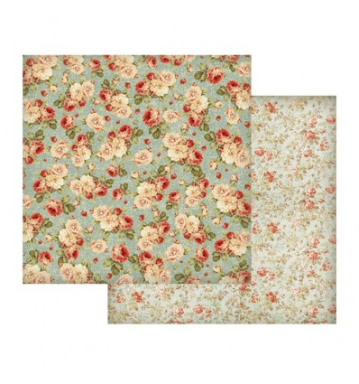 Double Face Scrap Paper - Flowery Wallpaper on Turquoise Background
