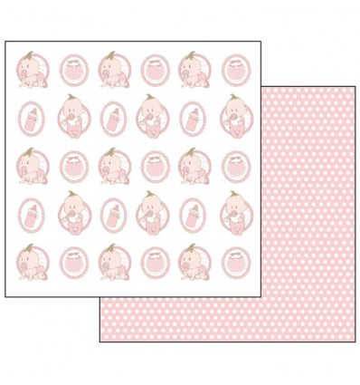 Double Face Scrap Paper - Pois and baby pink motifs