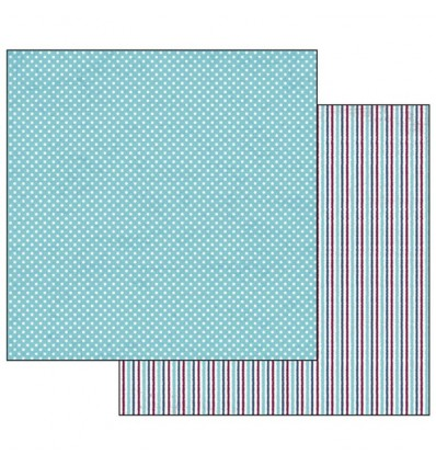 Double Face Scrap Paper - Texture polka dots turquoise background