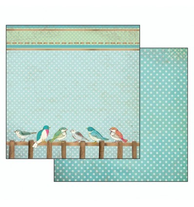 """Double face paper """"Fall in love"""" birds light blue background"""