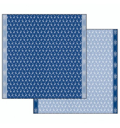 Double face paper Cloth texture with flowers blue background
