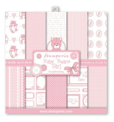 Pack 10 sheets double face 30x30 Pink Baby Bear