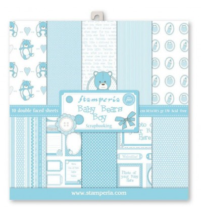 Pack 10 sheets double face 30x30 Light Blue Baby Bear