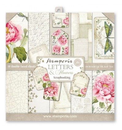 Pack 10 sheets double face 30x30 Letters & Flowers