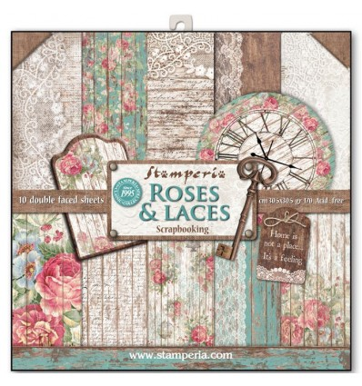 Pack 10 sheets double face 30,5x30,5 - Roses, lace and wood