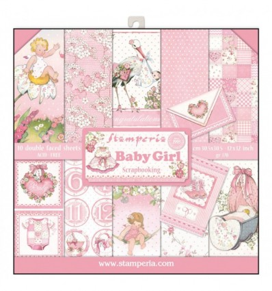 """Block 10 sheets 30.5x30.5 (12""""x12"""") Double Face Baby Girl"""