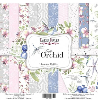 Papel doble cara Scrapbooking set Tender orchid- 8x 8 - Fabrika Decoru