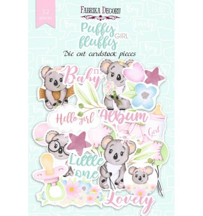 Set of die cuts Puffy Fluffy Girl, 52pcs