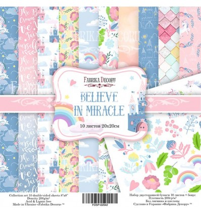 Papel doble cara Scrapbooking set Believe in miracle- 8x 8 - Fabrika Decoru