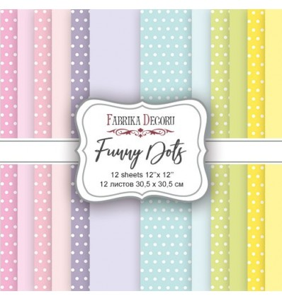 "Double-sided scrapbooking paper set ""Funny Dots, 12x 12"