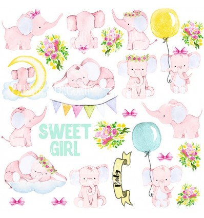 """Sheet of images for cutting. Collection """"Little elephant"""""""