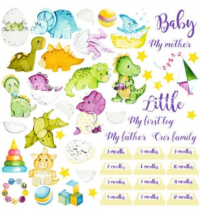 """Sheet of images for cutting. Collection """"Dino baby"""""""
