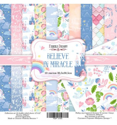 Papel doble cara Scrapbooking set Believe in miracle- 12x 12 - Fabrika Decoru