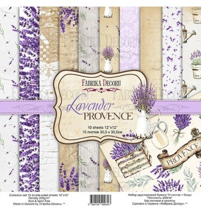 Double-sided scrapbooking paper set Lavender Provence-12x 12 -Fabrika Decoru