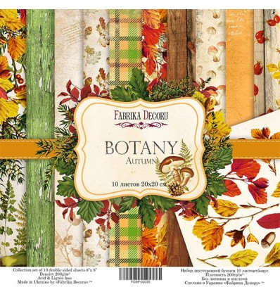 Papel doble cara Scrapbooking set Botany autumn- 8x 8 - Fabrika Decoru