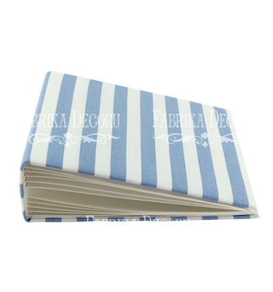 Blank album with a soft fabric cover White and blue stripes