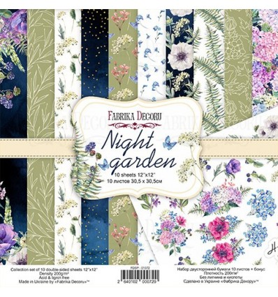 Double-sided scrapbooking paper set Night garden 12x12