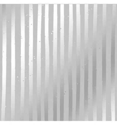 Sheet of single-sided paper embossed by silver foil Silver Stripes Gray 12x12