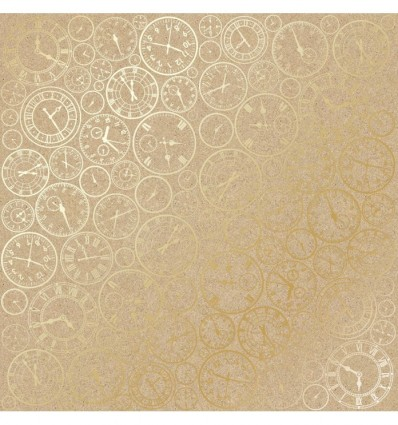 Sheet of single-sided paper embossed by golden foil Golden Clocks Kraft 12x12