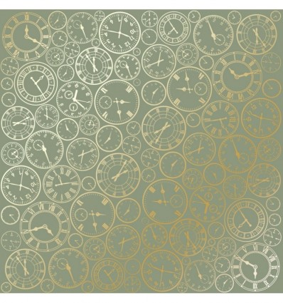 Sheet of single-sided paper embossed by golden foil Golden Clocks Olive 12x12