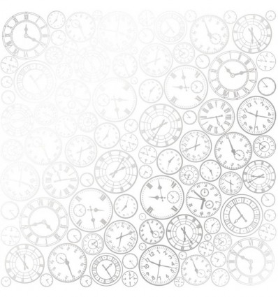 Sheet of single-sided paper embossed by silver foil Silver Clocks White 12x12