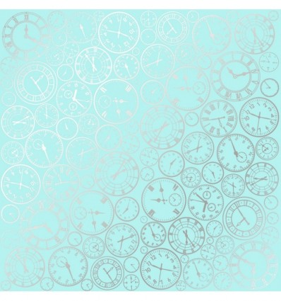 Sheet of single-sided paper embossed by silver foil Silver Clocks Turquoise 12x12