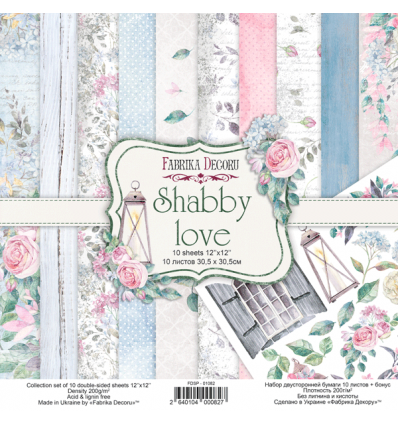 Double-sided scrapbooking paper set Shabby love 12x12 10 sheets