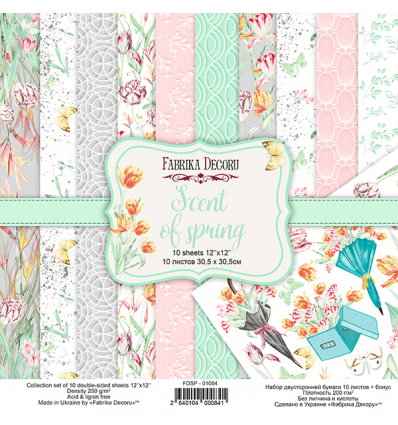 Double-sided scrapbooking paper set Scent of spring 12x12 10 sheets