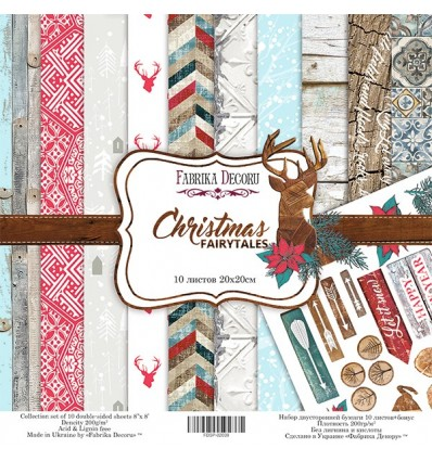 Papel doble cara Scrapbooking set Christmas fairytales- 8x 8 - Fabrika Decoru