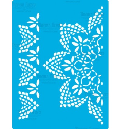 Stencil for crafts 15x20cm Knitted napkin with flowers 355