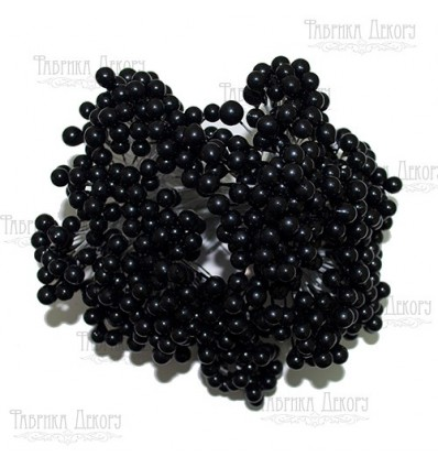 Set lacquer guelder rose berries,mini. 20pcs.Color Black