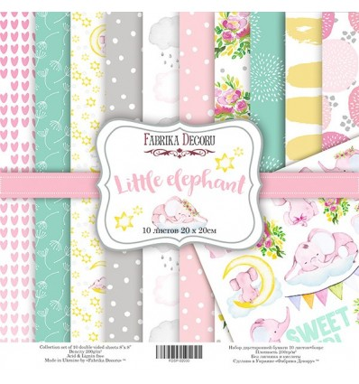 Papel doble cara Scrapbooking set Little elephant- 8x 8 - Fabrika Decoru