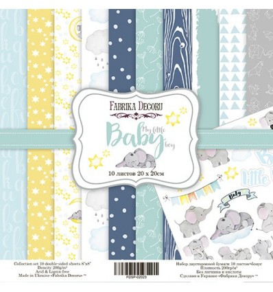 Papel doble cara Scrapbooking set My little baby boy- 8x 8 - Fabrika Decoru