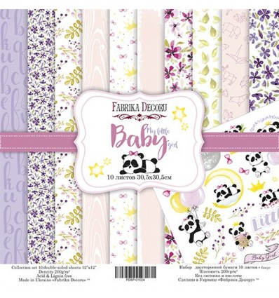 Papel doble cara Scrapbooking set My little baby girl- 12x 12 - Fabrika Decoru