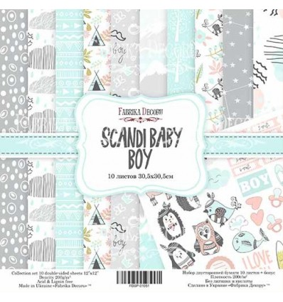 Papel doble cara Scrapbooking set Scandi Baby Boy- 12x 12 - Fabrika Decoru