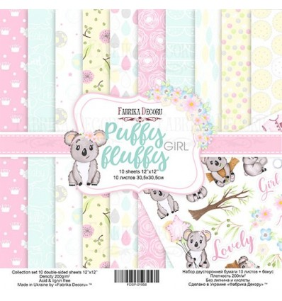 "Double-sided scrapbooking paperSet Puffy Fluffy Girl, 12""x 12"""