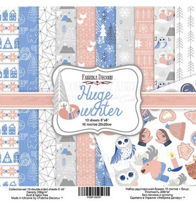 "Double-sided scrapbooking paperSet Huge Winter, 8""x 8"""