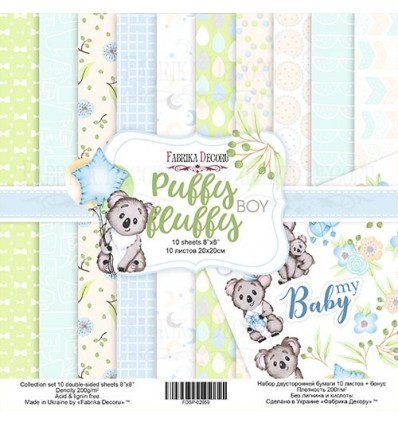 "Double-sided scrapbooking paperSet Puffy Fluffy Boy, 8""x 8"""