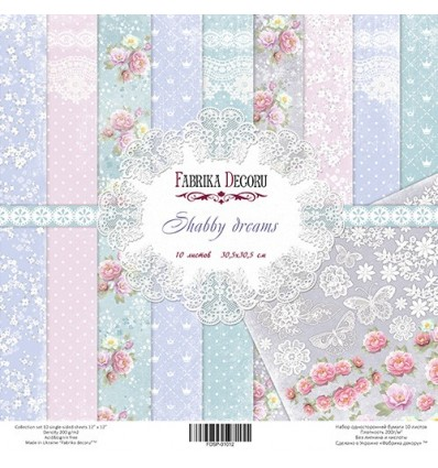 Papel doble cara Scrapbooking set Shabby Dreams- 12x12- Fabrika Decoru