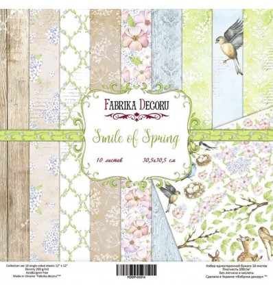 Papel doble cara Scrapbooking set Smile of spring- 12x12- Fabrika Decoru